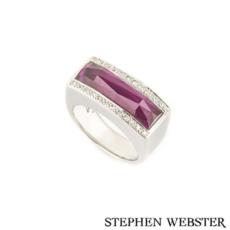 Stephen Webster 18k White Gold Crystal Haze Ruby and Diamond Ring